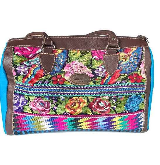 handbag made with floral huipil and leather