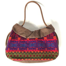 colorful huipil vintage bag