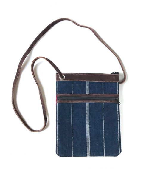 back of crossbody bag with denim