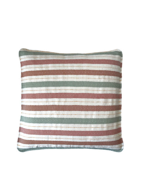 beige green and maroon pillow cover