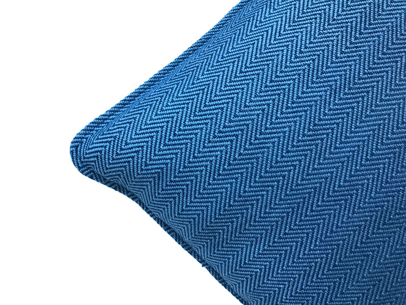 navy chevron patterned pillow cover close up