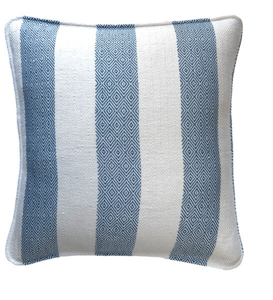 white and blue tribal patterned hand made pillow cover